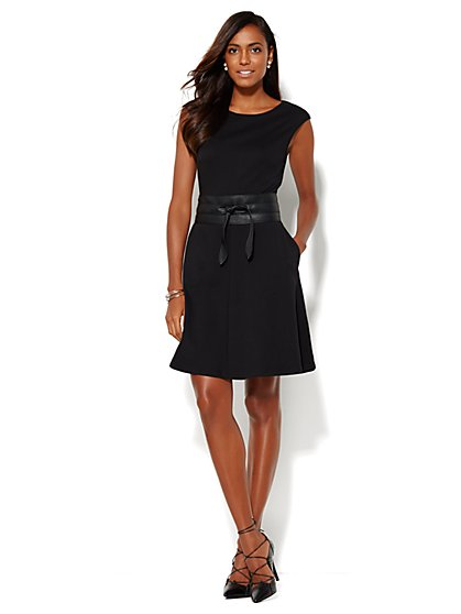 Cotton-Stretch Flare Dress - Petite - New York & Company