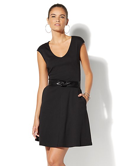 Cotton V-Neck Pocket Flare Dress - New York & Company