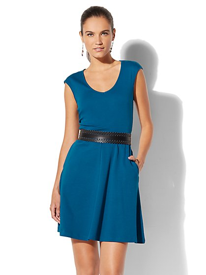 Cotton V-Neck Pocket Flare Dress - New York & Company