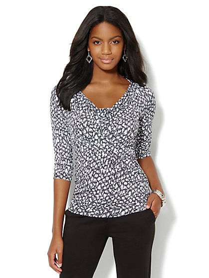 Cowl-Neck 3/4-Sleeve Top - Print - New York & Company