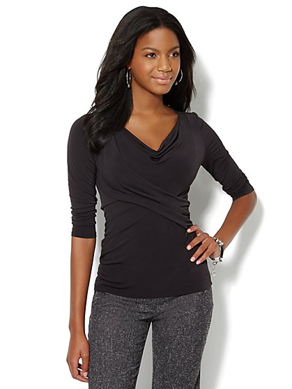 Cowl-Neck 3/4-Sleeve Top - New York & Company