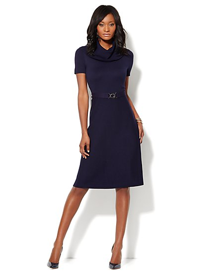 Cowl-Neck Fit & Flare Sweater Dress - New York & Company
