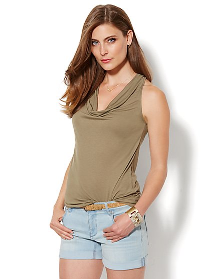 Cowl-Neck Halter Top - Solid  - New York & Company