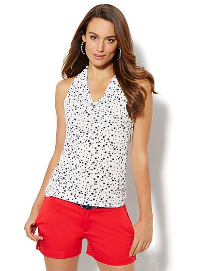 Cowl-Neck Halter Top - Star Print  - New York & Company