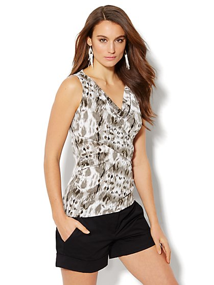 Cowl-Neck Knit Top - Abstract Print