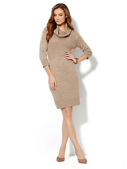 Cowl-Neck Lurex Sweater Dress  - New York & Company