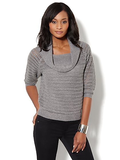 Cowl-Neck Metallic-Stitch Sweater - New York & Company