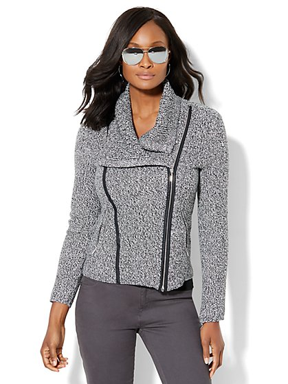 Cowl-Neck Moto Sweater - Black & White Marled Knit  - New York & Company