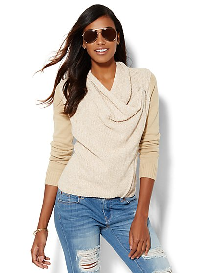 Cowl-Neck Moto Sweater  - New York & Company