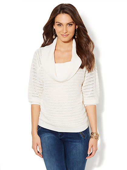 Cowl-Neck Open-Knit Sweater - Winter White - New York & Company