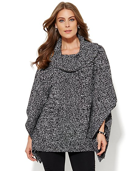 Cowl-Neck Poncho - Marled  - New York & Company
