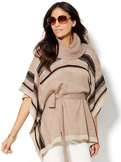 Cowl-Neck Stripe Poncho  - New York & Company