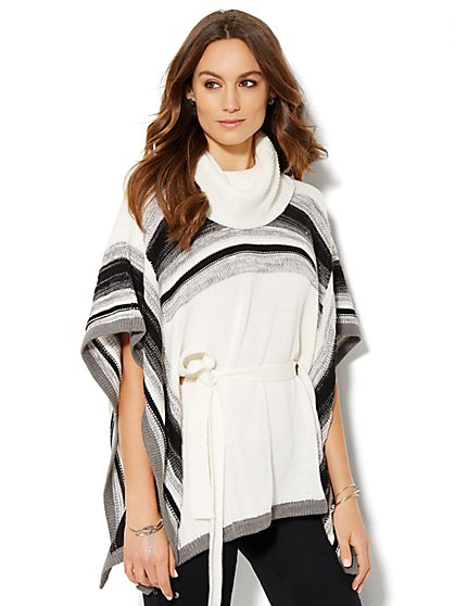 Cowl-Neck Stripe Poncho  - New York & Company