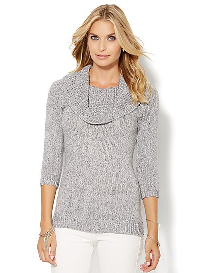 Cowl-Neck Sweater - Lurex  - New York & Company