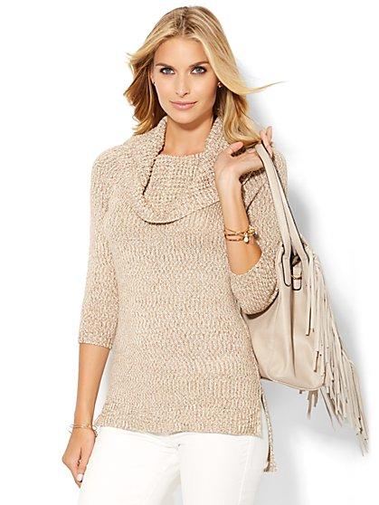 Cowl-Neck Sweater - Lurex  - New York & Company
