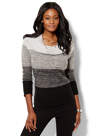 Cowl-Neck Sweater - Ombré Cable  - New York & Company