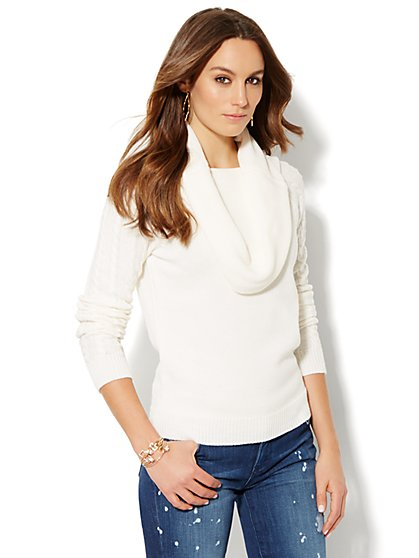 Cowl-Neck Sweater - Solid - New York & Company