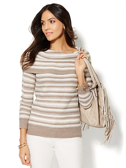 Cowl-Neck Sweater - Stripe  - New York & Company