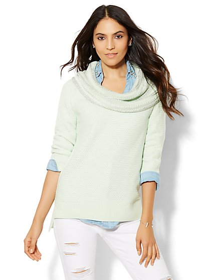 Cowl-Neck Textured Sweater  - New York & Company