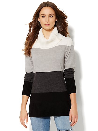 Cowl-Neck Tunic Sweater - Stripe  - New York & Company