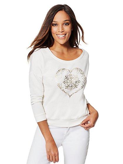 Cozy Fair Isle Heart Sweatshirt - New York & Company