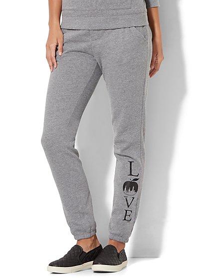 Cozy Lounge - Montauk Fleece Pant - Logo Print - New York & Company
