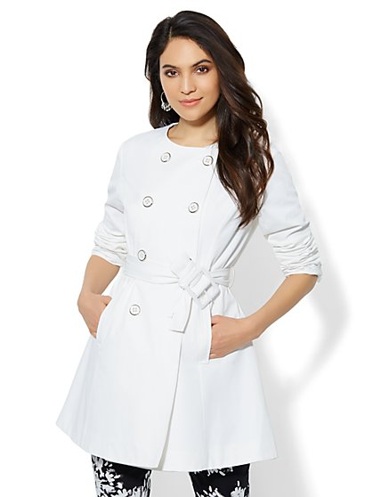 Crew-Neck Trench Coat  - New York & Company