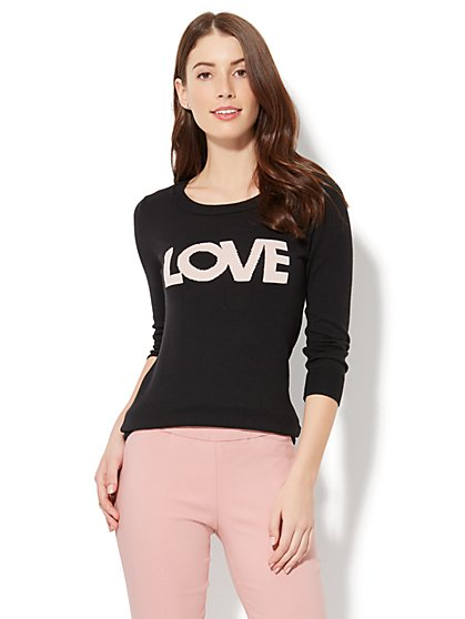 "Crewneck Sweater - ""Love"" Intarsia Knit - New York & Company"