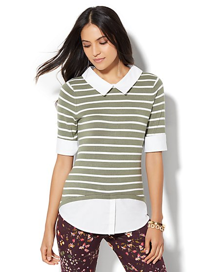 Crewneck Twofer Sweater - Stripe  - New York & Company
