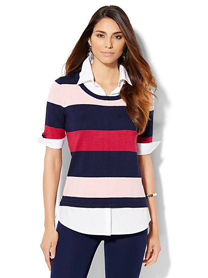 Crewneck Twofer Sweater - Stripe  - New York & Company