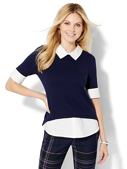 Crewneck Twofer Sweater - New York & Company
