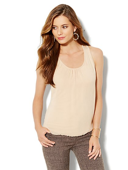 Crinkle-Chiffon Tank Top - New York & Company