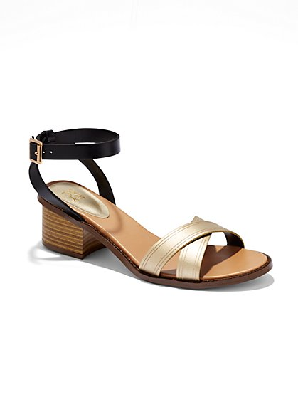 Criss-Cross Metallic Sandal  - New York & Company
