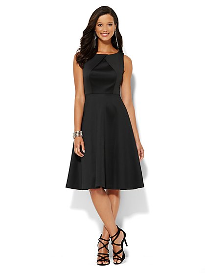 Crisscross Scuba Flare Dress - New York & Company