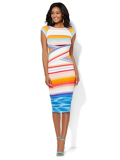Crisscross Sheath Dress - Stripe  - New York & Company