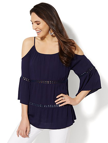 Crochet-Accent Cold-Shoulder Blouse  - New York & Company