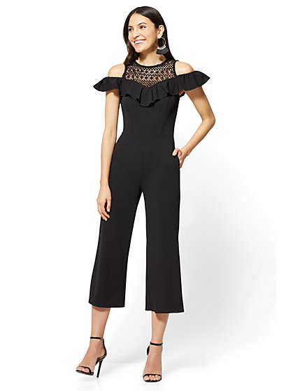 Crochet-Accent Cold-Shoulder Jumpsuit - New York & Company