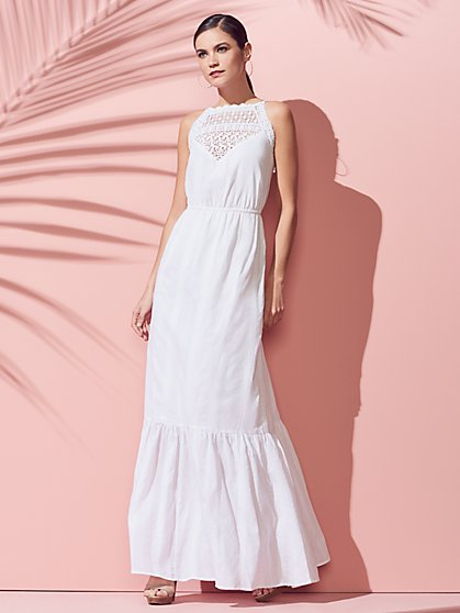 Crochet-Accent Maxi Dress - New York & Company