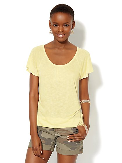 Crochet-Accent Scoopneck Tee  - New York & Company