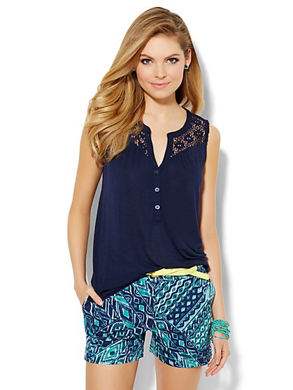 Crochet-Accent Sleeveless Top  - New York & Company