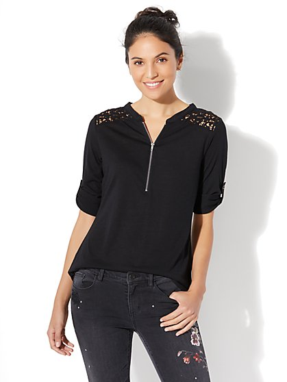 Crochet-Accent Zip-Front Knit Top - New York & Company