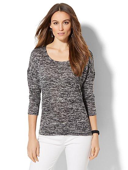 Crochet-Back Tunic Sweater - New York & Company