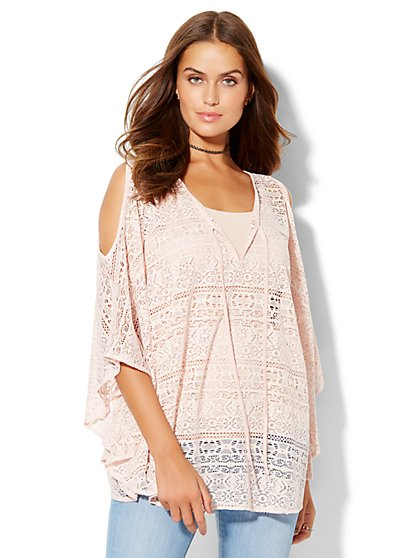 Crochet Cold-Shoulder Vest  - New York & Company