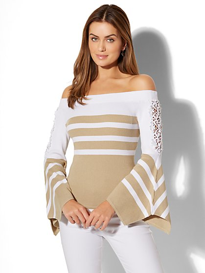 Crochet-Detail Off-The-Shoulder Sweater - New York & Company