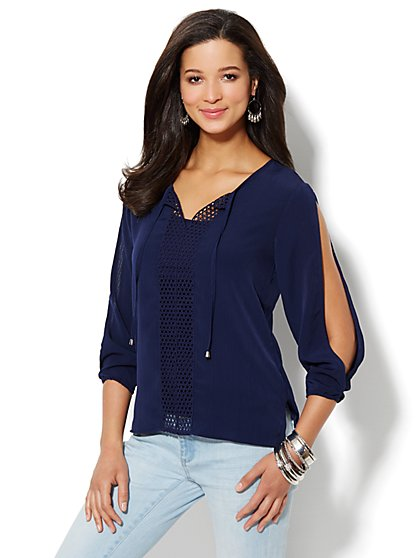 Crochet Flowing Open-Sleeve Blouse - New York & Company
