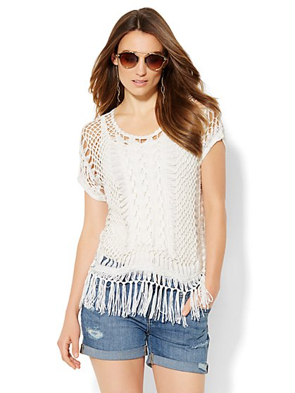 Crochet Fringe-Trim Top  - New York & Company