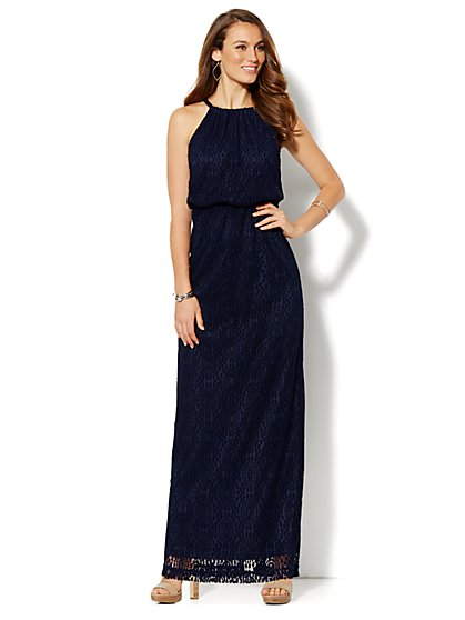 Crochet Halter Maxi Dress  - New York & Company