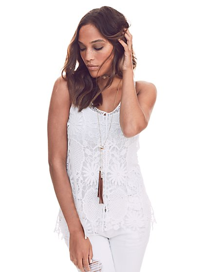 Crochet-Knit Tank Top  - New York & Company