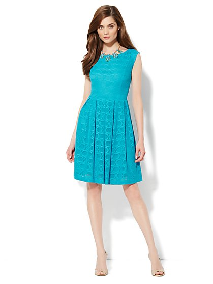 Crochet-Lace Fit & Flare Dress - Circle Dot