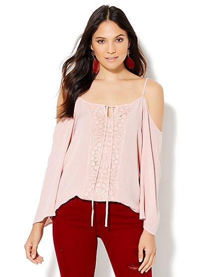 Crochet-Panel Cold-Shoulder Blouse  - New York & Company
